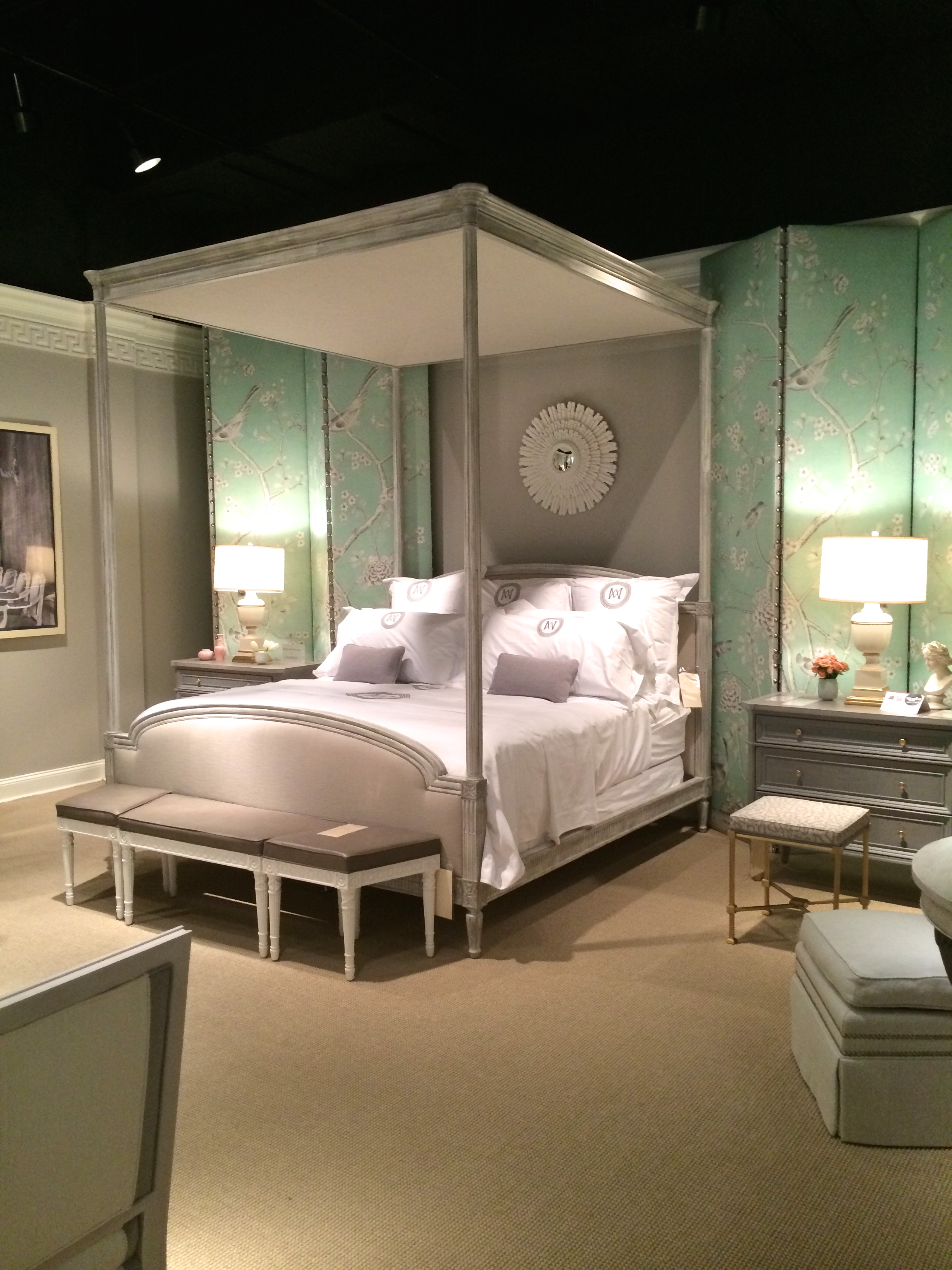 this bedroom by Mary McDonald contains a lot of Louis XVI-style elements