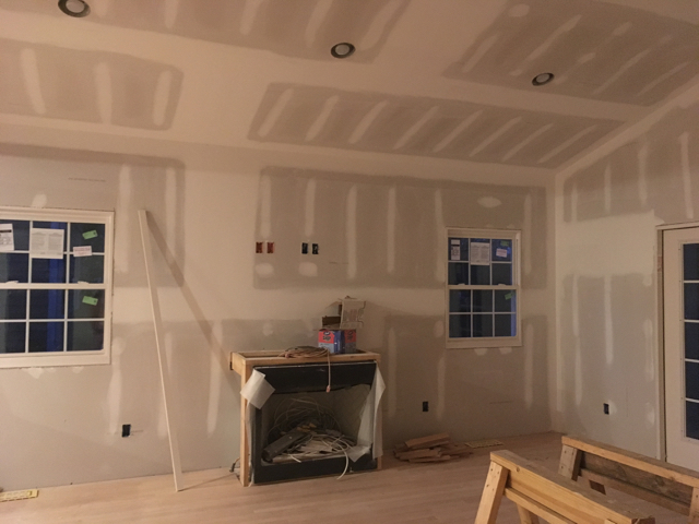The day drywall went up!