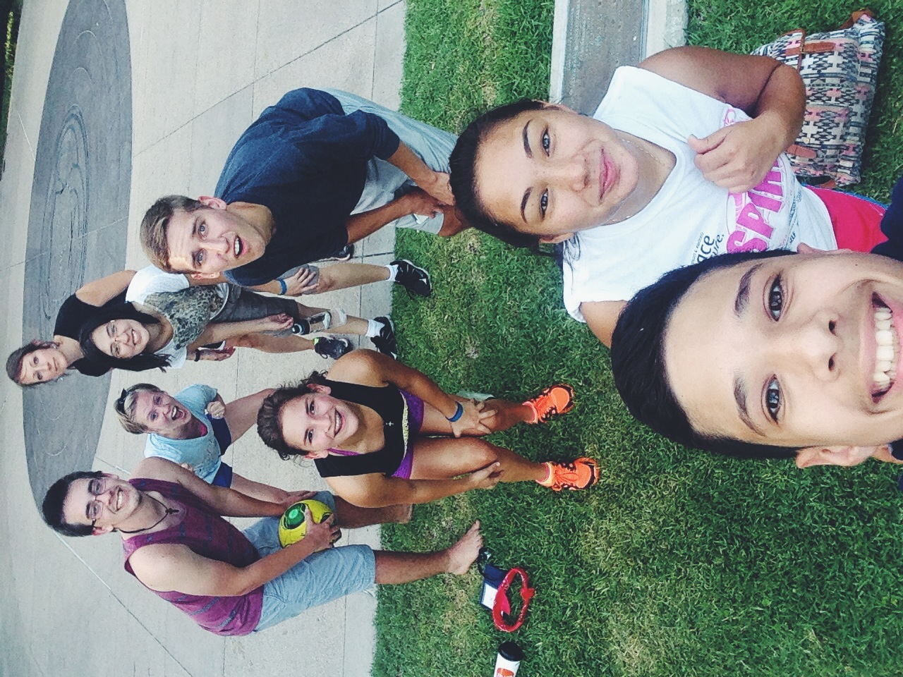 Group selfie after 2 consecutive ours of ultimate frisbee.