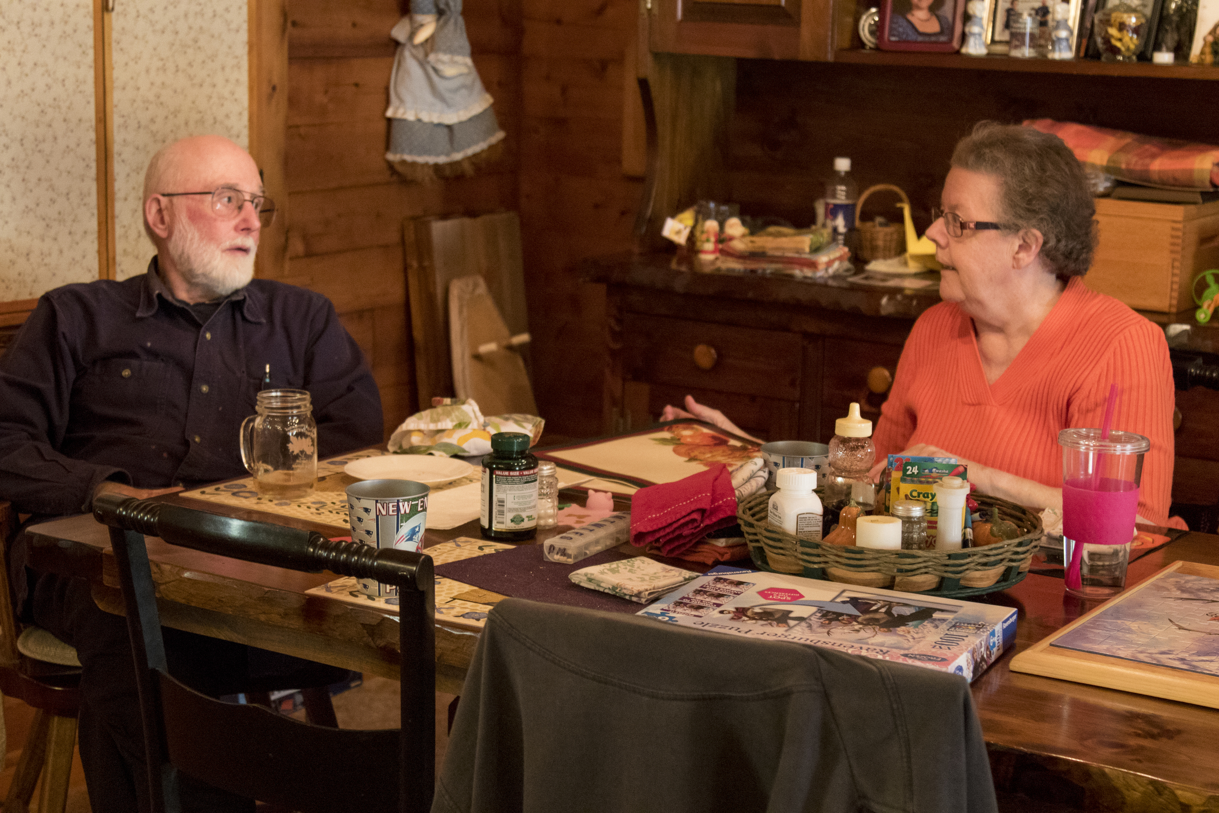 George and Ann talk after lunch at their home in Mansfield, Connecticut. (Jackson Mitchell)