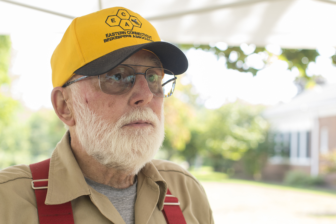 George is pictured in his tent at the Storrs Farmers Market on Saturday, Sept. 19, 2015. (Jackson Mitchell)