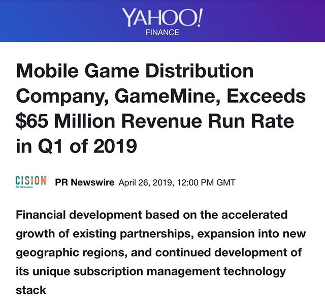 We are so happy and proud of GameMine's tremendous growth. We've worked with GameMine since company's launch in 2017! Onward and upward 📈 #mobile #gaming