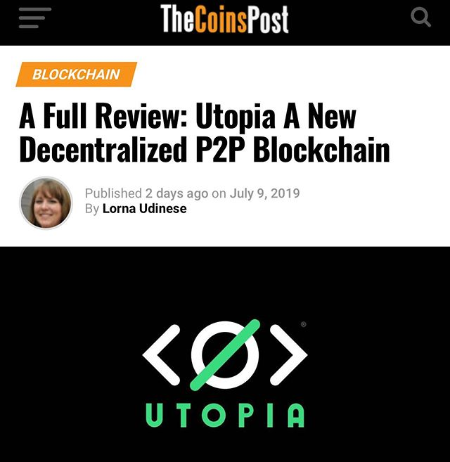 "We are stoked our client, Utopia, a P2P decentralized network for chat, texts, emails, file sharing, and wallet has launched with great reviews! Here's what Lorna Udinese has to say about Utopia, ""Utopia just launched a beta version of it's network. So I decided to test it out and I would say that I am impressed. I would advice you to give it a try if you are interested in Decentralized Technology."" #Blockchain #Crypto #cryptonews #p2p #cybersecurity"