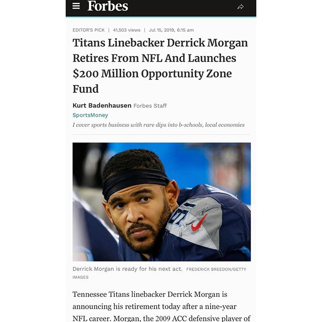Major news! Congrats to Derrick Morgan! #impactinvesting #socialgood #opportunityzone #nfl