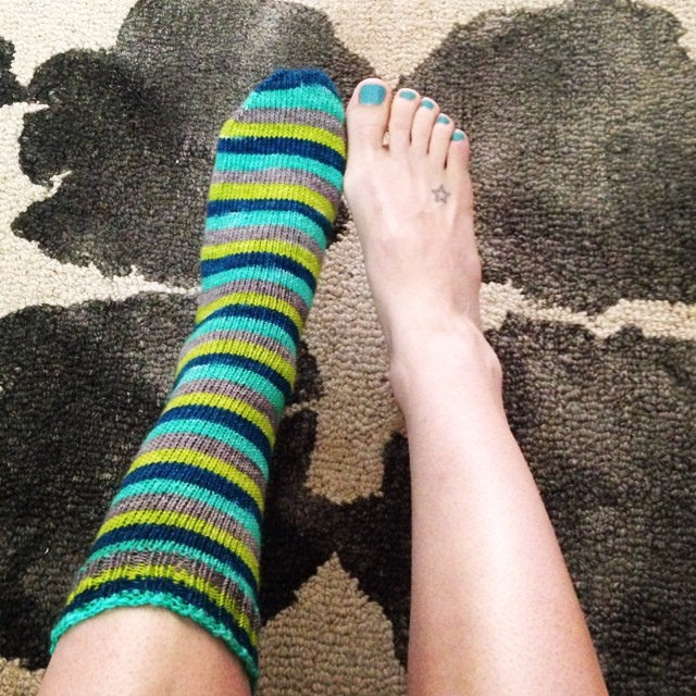 """Yarn from Yartini's """"Create Your Own"""" self striping sock yarn club. I picked 4 colours and she made the yarn! I have 2 other skeins in different combo's. Very fun."""