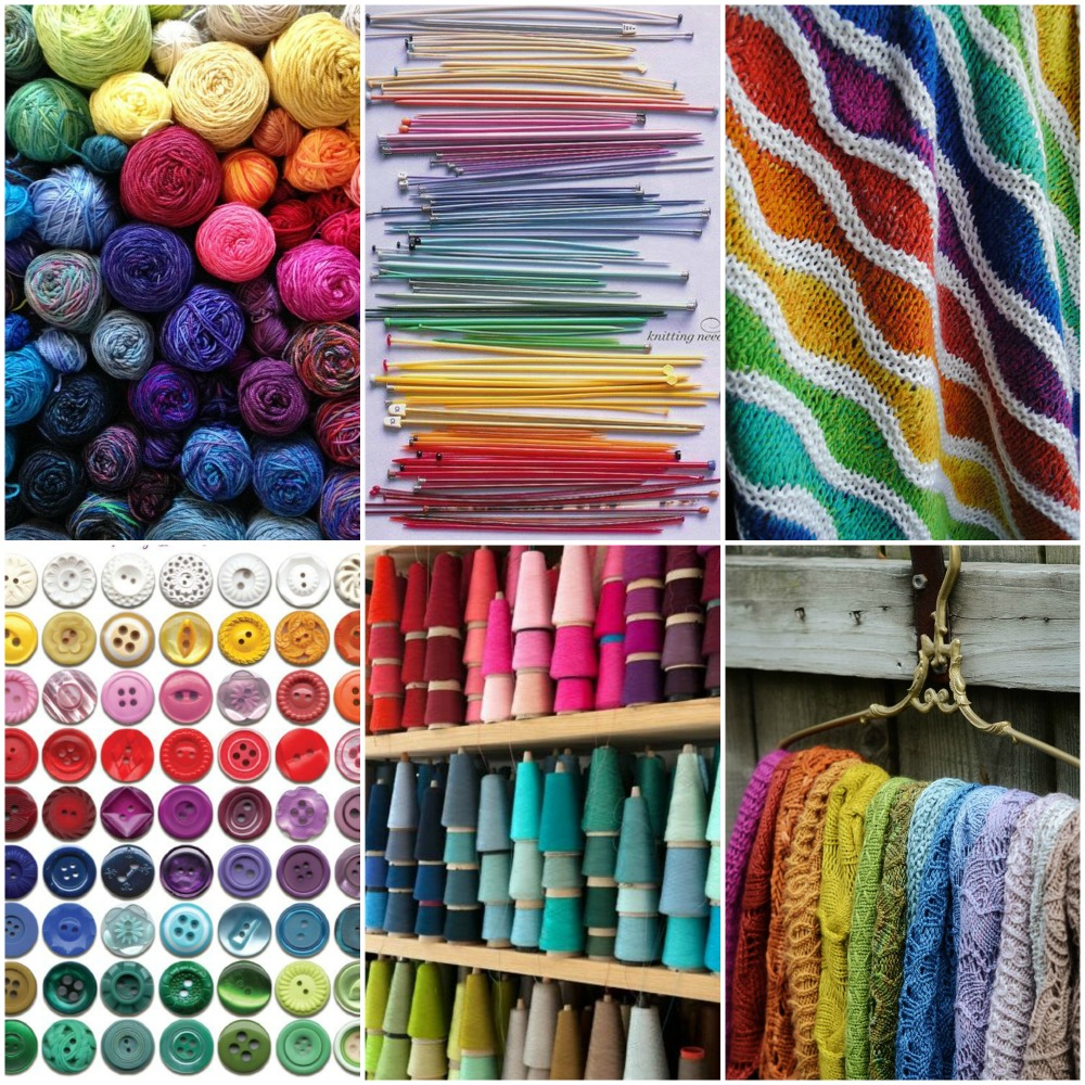 Sources, from top left: my sock yarn leftovers  ,  knitting needles  ,  lizard ridge afghan  ,  buttons  ,  spools of thread  ,  Shawls .