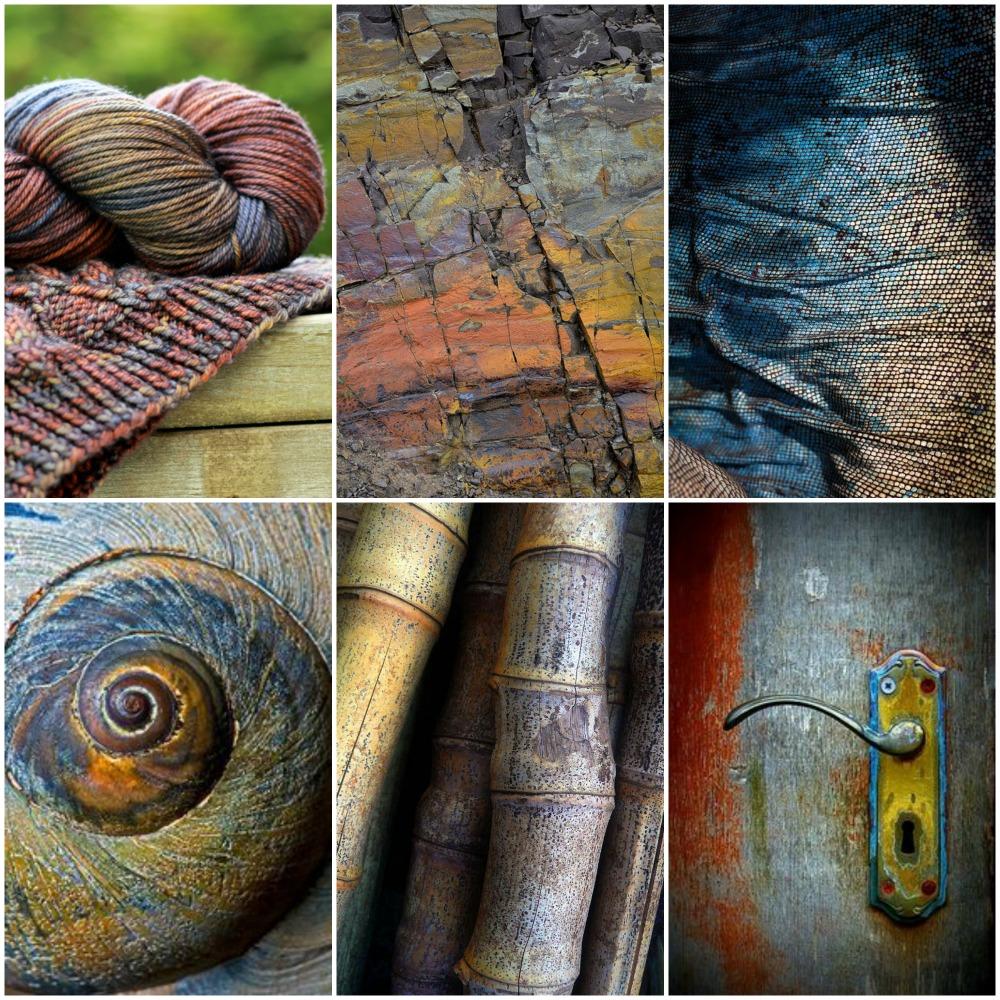 Sources from top left: TFA Orange Label in ' Mosaic ', stone wall  ,   blue iguana skin  ,  seashell  ,   bamboo  ,  door knob .