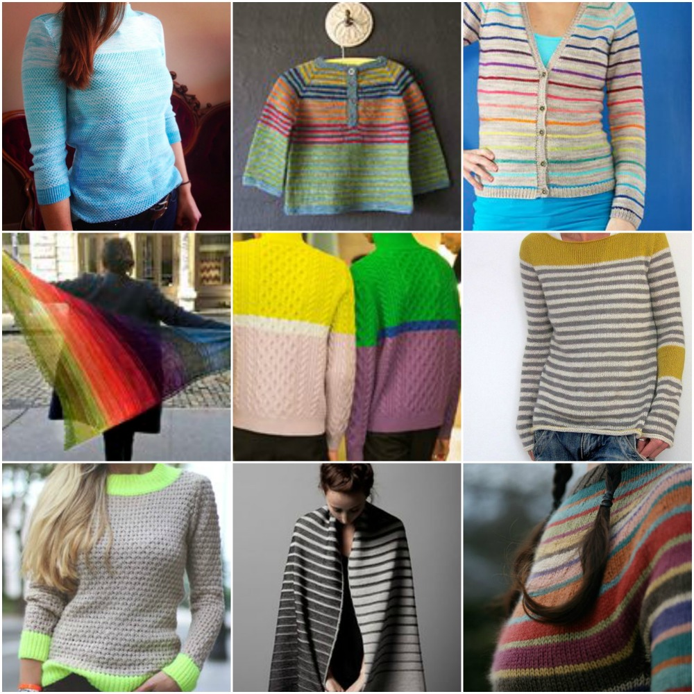 Sources, top to bottom, left to right: My sister's sweater ,  sweet baby sweater  ,  lifesavers  ,  scrappy Duane Park Triangle , colour blocked cables , grey, white and yellow  ,  neon cuffs  ,    gradient scarf  ,  milano pullover .