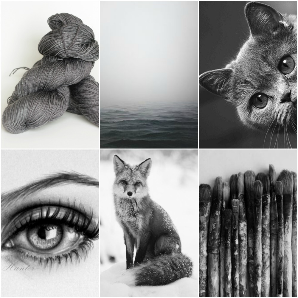 Sources: TFA Green Label Aran Weight yarn in   Graphite  ,   ocean  ,   cat  ,   eye  ,   fox  ,   paint brushes  .