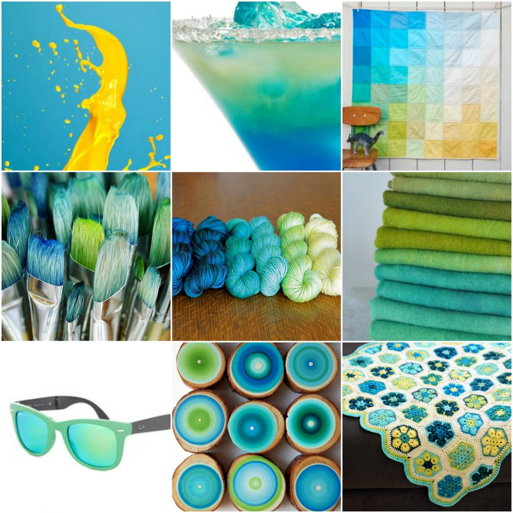 Sources: turquoise and yellow  splash  ,  fancy cocktail  ,  quilt  ,  paint brushes  ,  TFA Signature Palette , stack of wool cloth  ,  sunglasses  ,  painted log segments , African Flower Hexagon baby blanket .