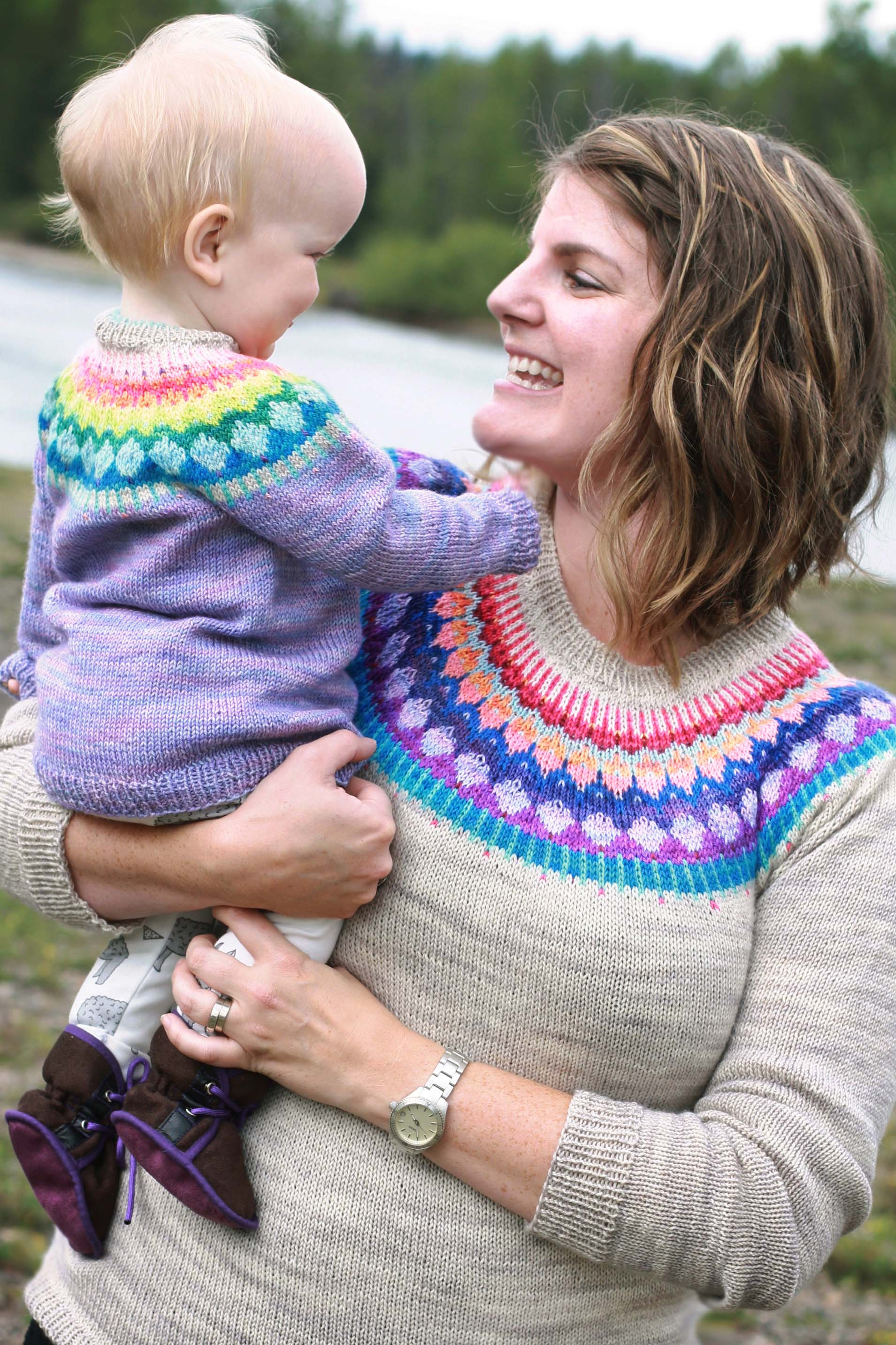 These mother/daughter versions knit by  Undone57  make me squeal. They are just soooo cute!