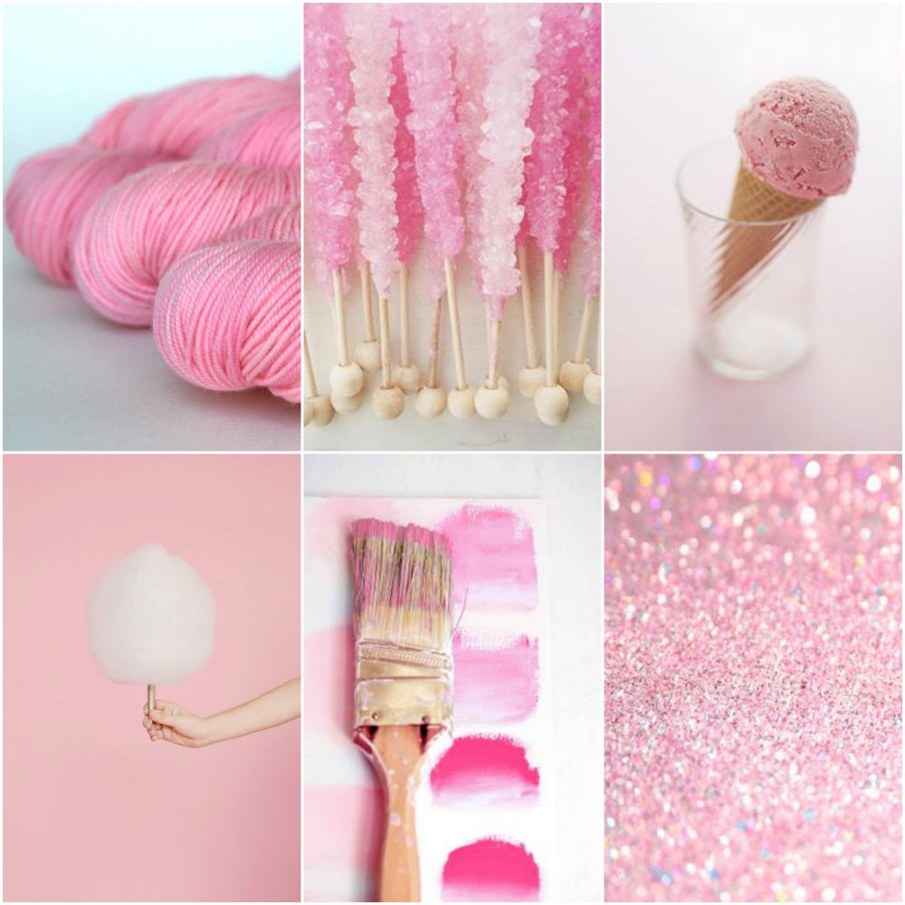 TFA Yellow Label DK Weight yarn in  Sweetheart , rock candy , ice cream cone , cotton candy , paint brush , glitter .