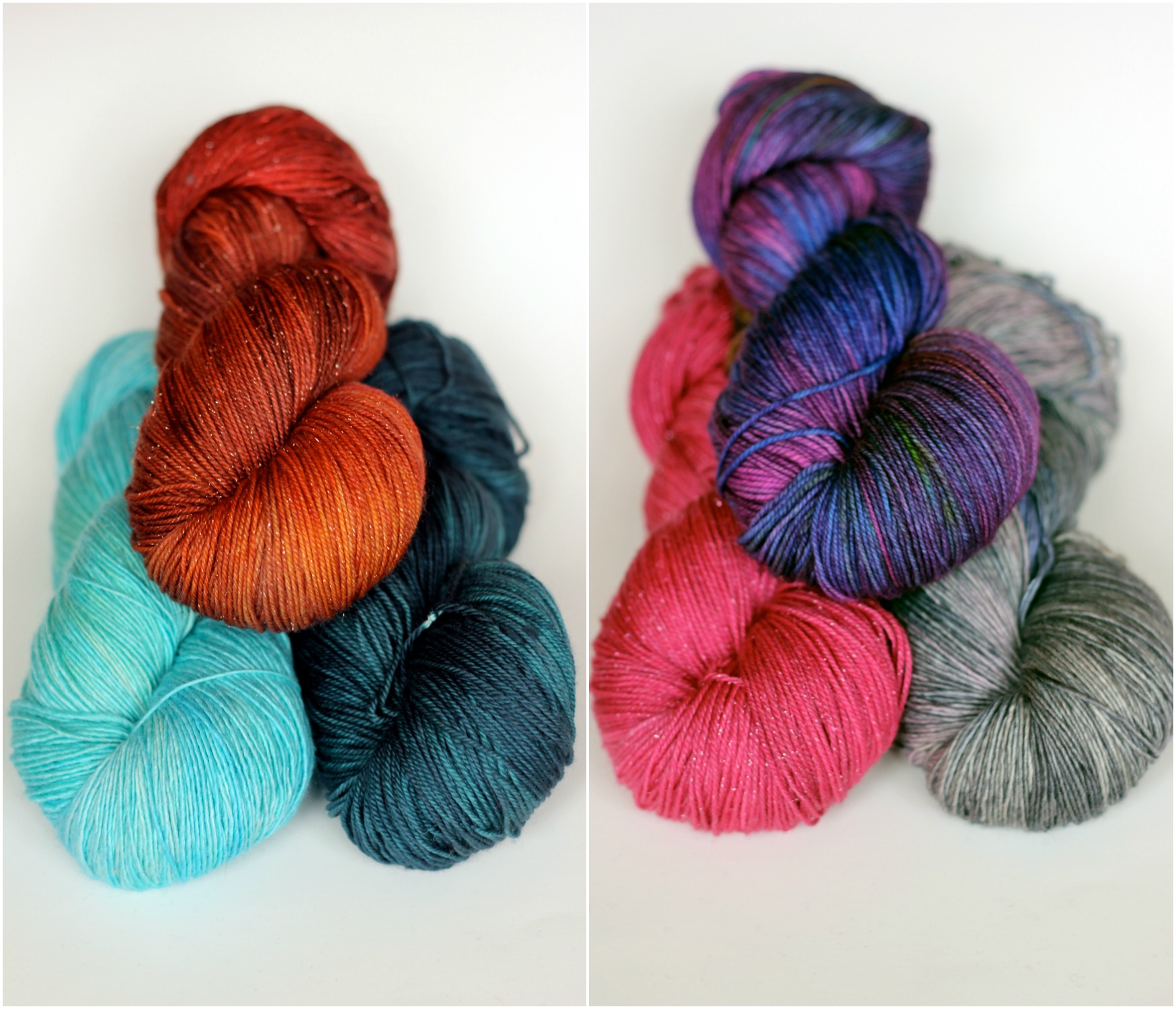 Mystery Skein sets! To give you an idea of the types of combo's I've put together, on the left we have Seabreeze, Ravine and Brick. On the right it's Orchid, Dove and Iris. You will not know what colourways you'll be receiving, you've got to love surprises!