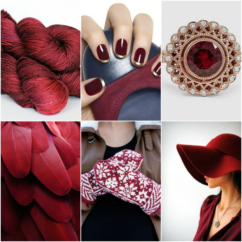 TFA Amber Label in  Garnet , nails , ring , feathers , TFA  Snowfling Mitts , hat .