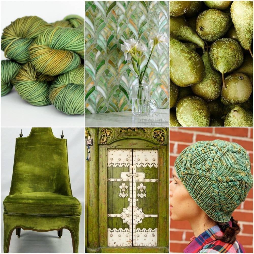 TFA Green Label Aran Weight in  Sprout , tiles , pears , chair , door , my Bract hat .