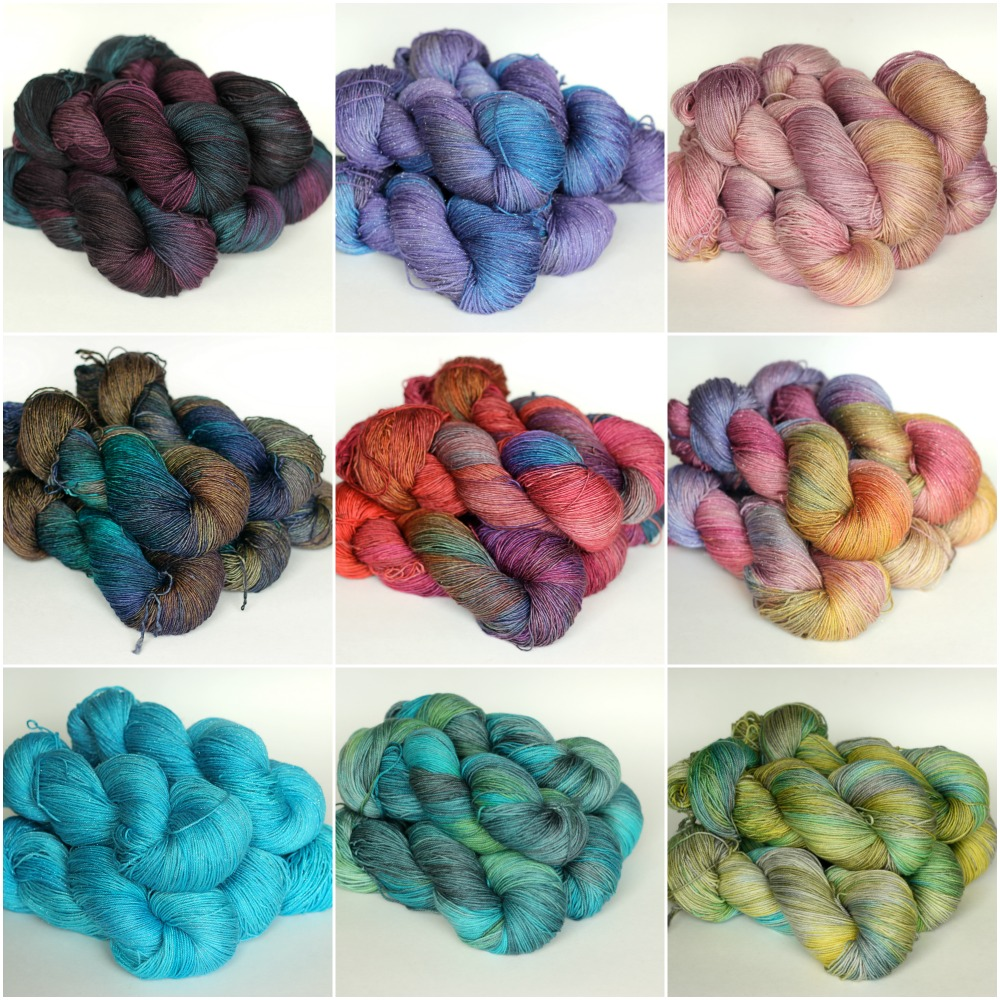 colourways, top to bottom, left to right: Fig, Purple Purl, Ballet Slipper, Midnight Oil, Kaleidoscope, Bonbon, Cloudless, Lotus, Mellow.