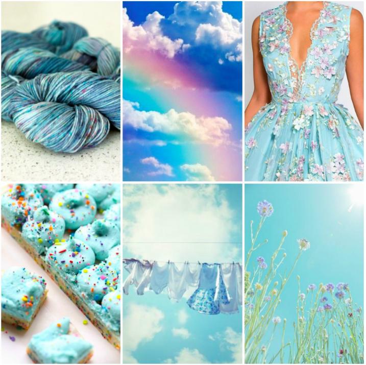 TFA PureWash Worsted in Stratus, rainbow , dress , unicorn bars , laundry , bachelor button flowers .