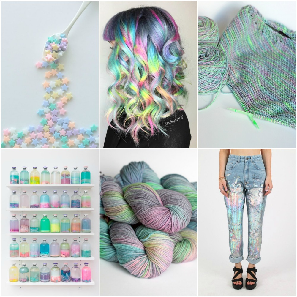 stars , hair , my current  WIP in Milkyway, pastel bottles , TFA PureWash DK in  Milkyway , jeans .