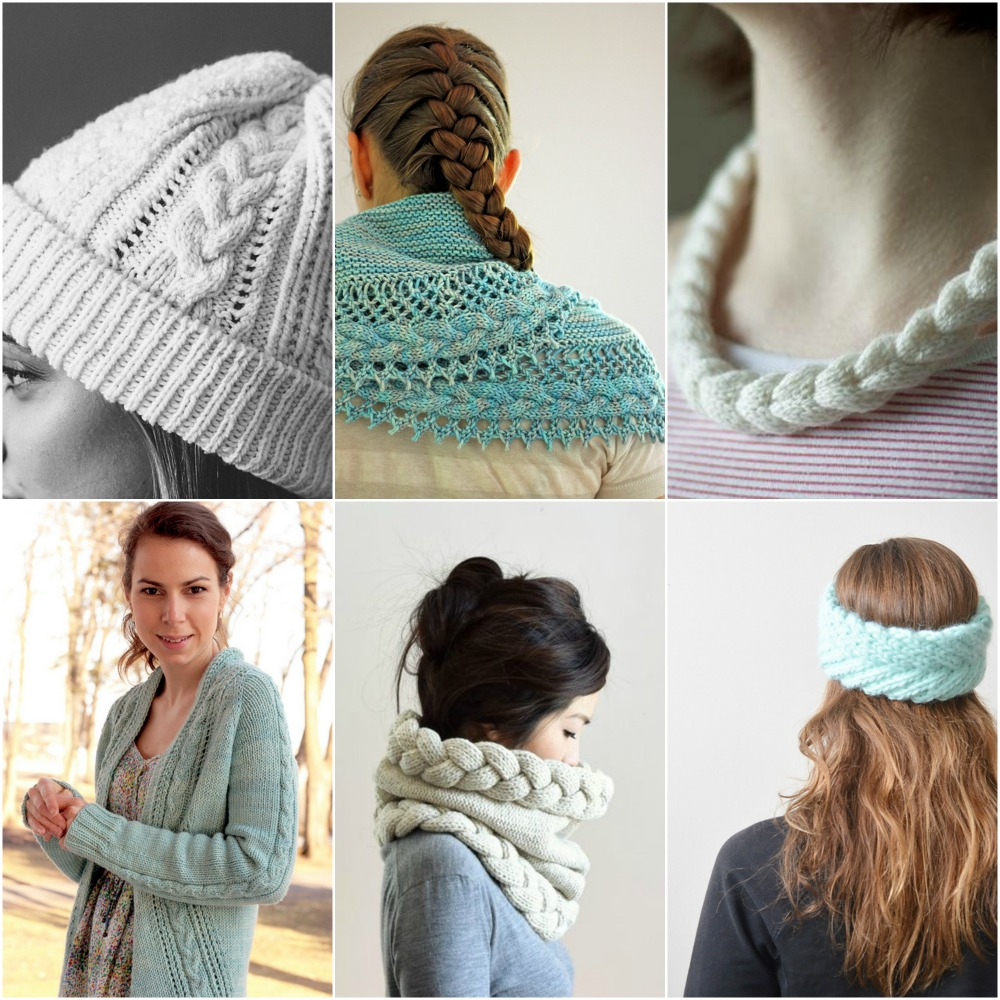 kingston hat , frost french cancan , cabled braided necklace , french braid cardigan , chunky cowl hood , Fishtail Braided Headband .
