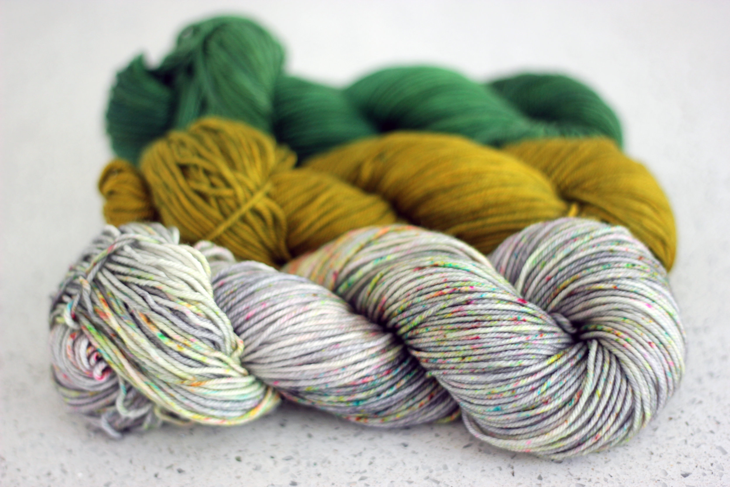 Bottom to top: OOAK speckled, OOAK weird-Chartreuse, Hunter (Club colourway from November 2016)