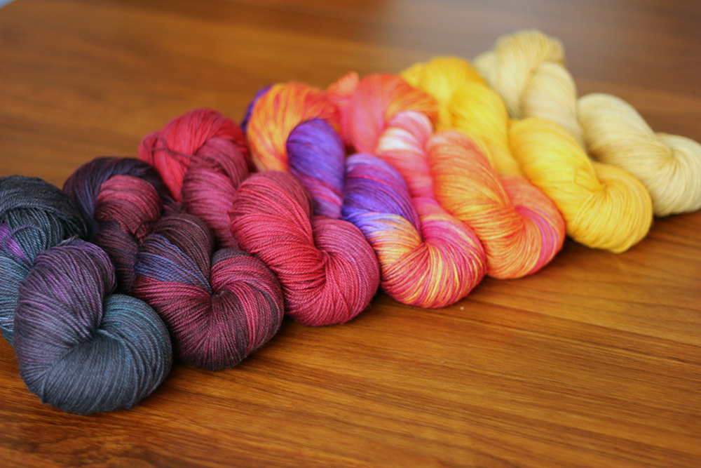 scheme #4: Fig, Velvet, Garnet, Lightning (OOAK), Papaya, Saffron, Gold