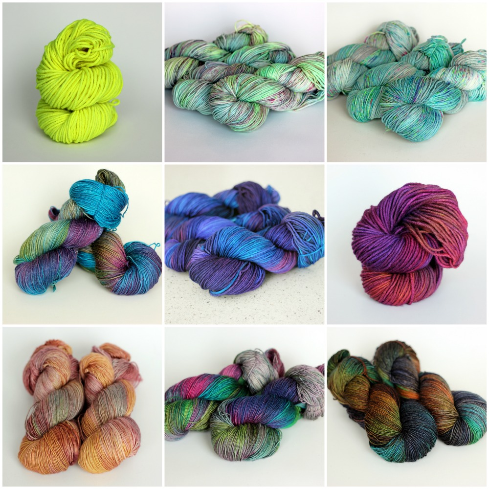 L to R, top to bottom: Highlighter on PureWash Chunky, Lime Hummingbird on PureWash Worsted, Rocket on PureWash DK, Monist on Cosmic Blue Label, Gem on PureWash Worsted, Lightning on PureWash Chunky, Cornucopia on Red Label, Prism on Red Label, Midnight Oil on Red Label.