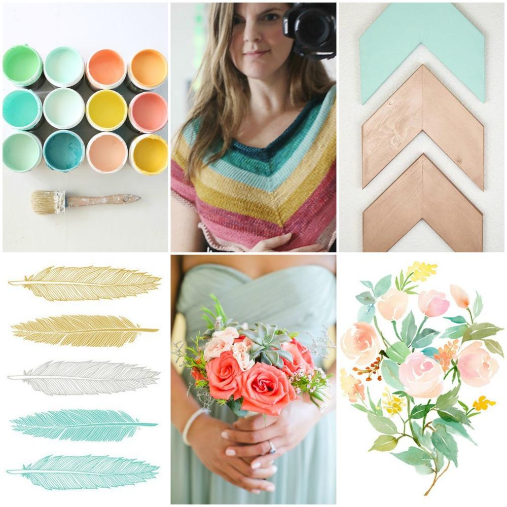spring paint colours , undone57's El Camino , arrows ,  feathers , bridesmaid , flower watercolour .