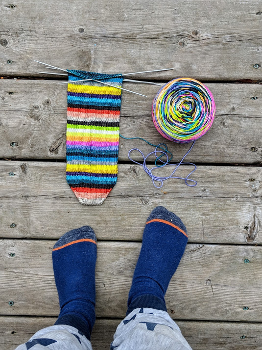 WIP shot of my Trusty Toe Up sock for our  Simple Sock KAL  curtesy of Rowan!