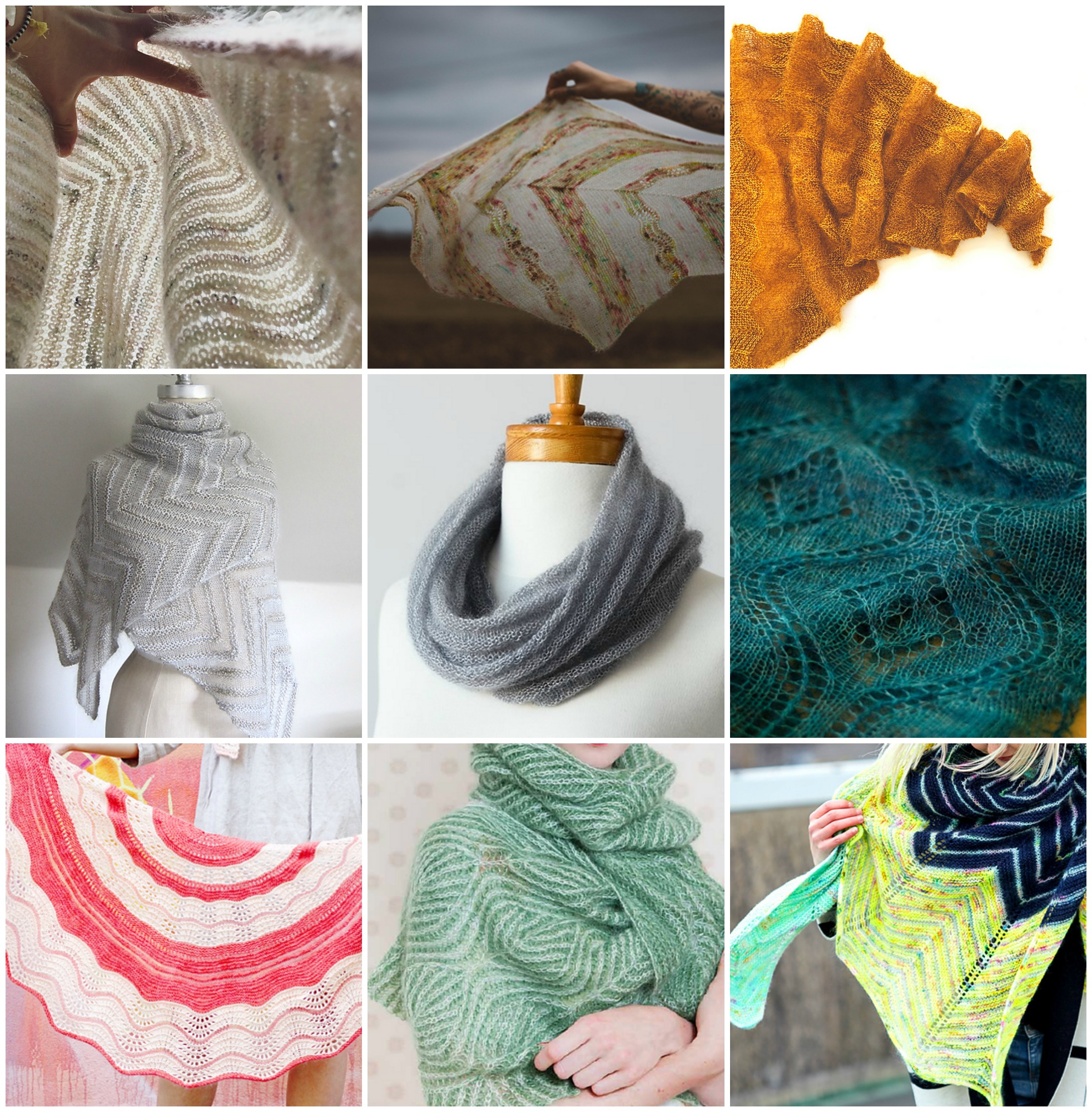 Truffula Tuft  by Webster Street Knittery,  Birds of a Feather  by Andrea Mowry,  Cheri Chevron Shawl  by Ambah O'Brien   Chevron Cloud  by Espace Tricot,  Welted Cowl  by Jane Richmond,  Seascape Stole  by Kieran Foley   Belu  by Camille Descoteaux,  Willow  by Nancy Marchant,  Baseline  by Beata Jezek