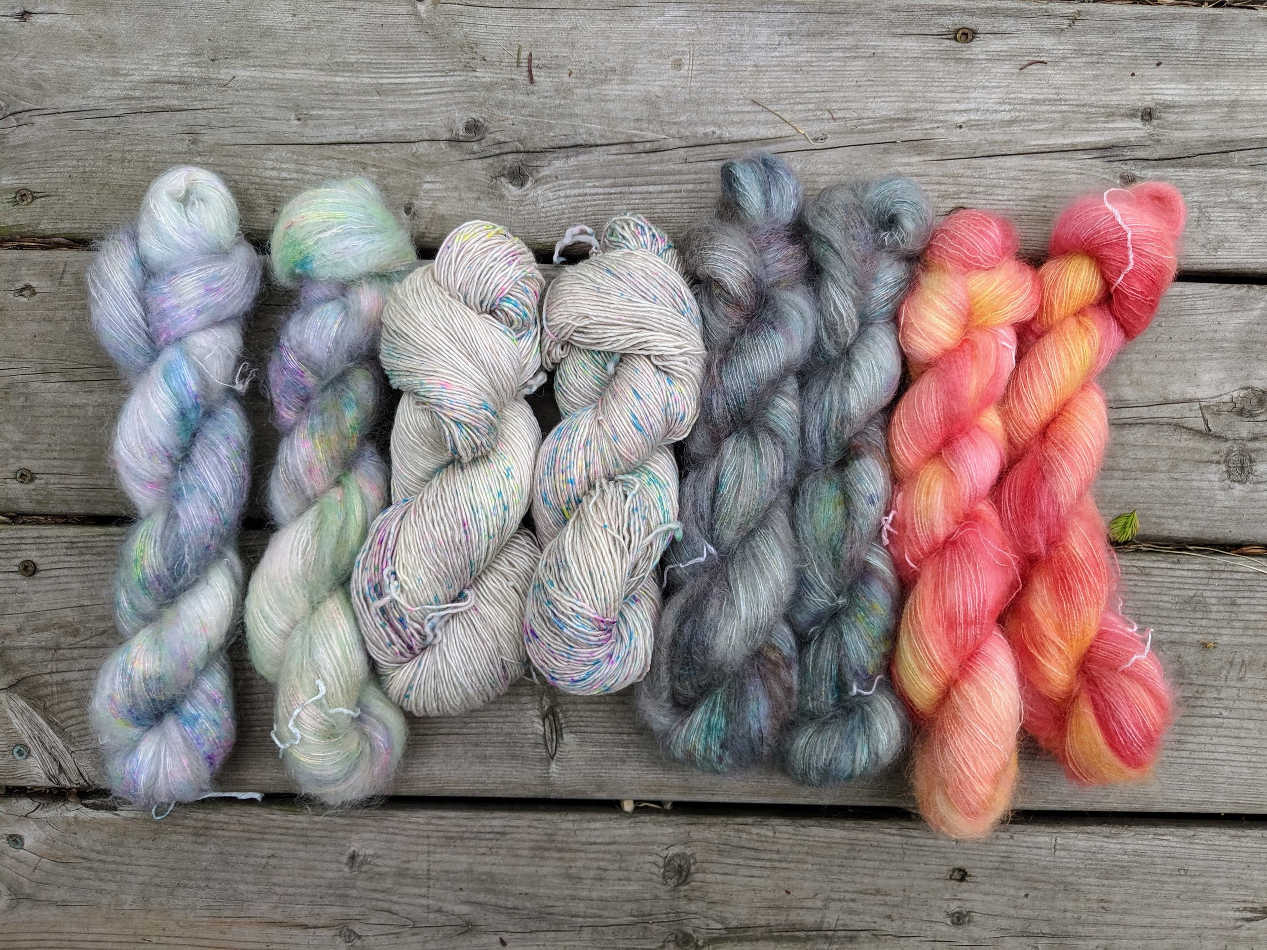 Sent this selection of yarn off to a friend for a future  Love Note  sweater. What combo will she choose!!! I'm dying to find out.