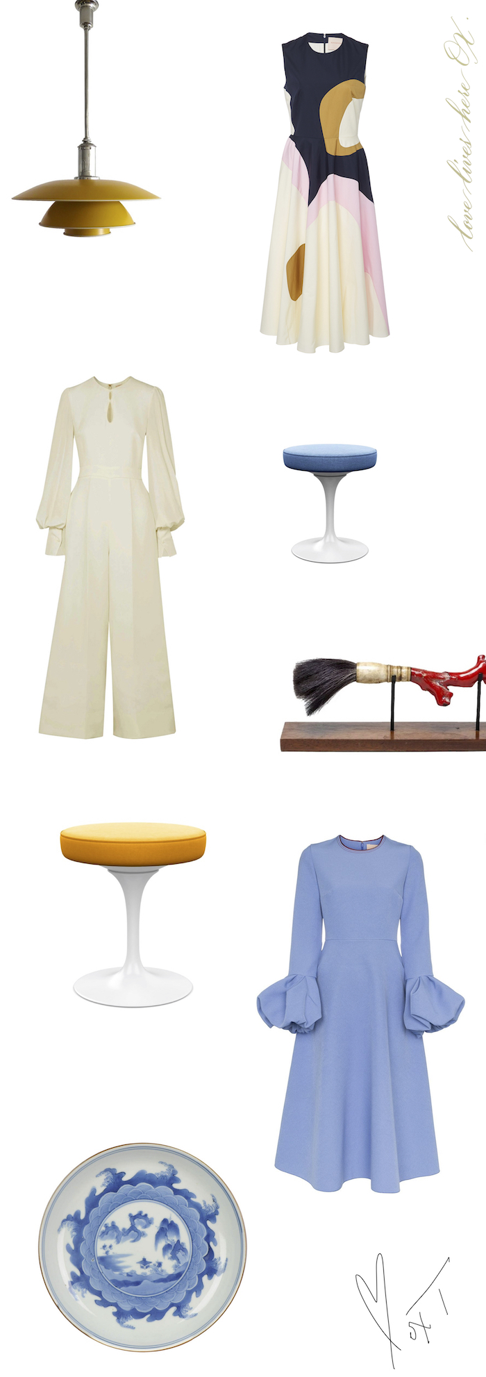 Beauty - Timeless BeautyDesigns from the 17th century to the 21st.Roksanda - Cotton Poplin Dress + Aylin Bell Sleeve Dress + Aunya Jumpsuit - I'm admiring the elegant lines in all of these designs; a modern twist on some very elegant timeless silhouettes.Knoll - The Tulip Stool - in Crossroad Zest + Crossroad Cabana. Eero Saarinen Movement c1957.Plop yourself right here. Hi.Sweetheart, do you like that?I love it.Me too...We sat, held hands and breathed together.There are some people who feel like home, just breathing next to me.This is because of our own ability to be aware of dedication to pinpointing such deliberate loving powers in our sweet summoning.One of a Kind - Asian Calligraphy brush, made with red sea coral handle. 19th century.Four Treasures of the Study (文房四宝 wén fáng sì bǎo) is an expression used to refer to the ink brush, inkstick, paper and inkstone used in Chinese calligraphy and painting. The name stems from the time of the Southern and Northern Dynasties (420-589 AD).Dear Darling Sweetie. Have a beautiful day.One of a Kind - Antique Japanese Ko-Imari Kakiemon Plate from the Edo Period (circa 1680-1720). I know. This is lovely.One of a Kind - Poul Henningsen. PH-4 Pendant Light, c1930. My love for lighting fixtures continues. The honey color shade and well proportioned design is pleasing. This would make lovely overhead lighting in my broom closet. :)