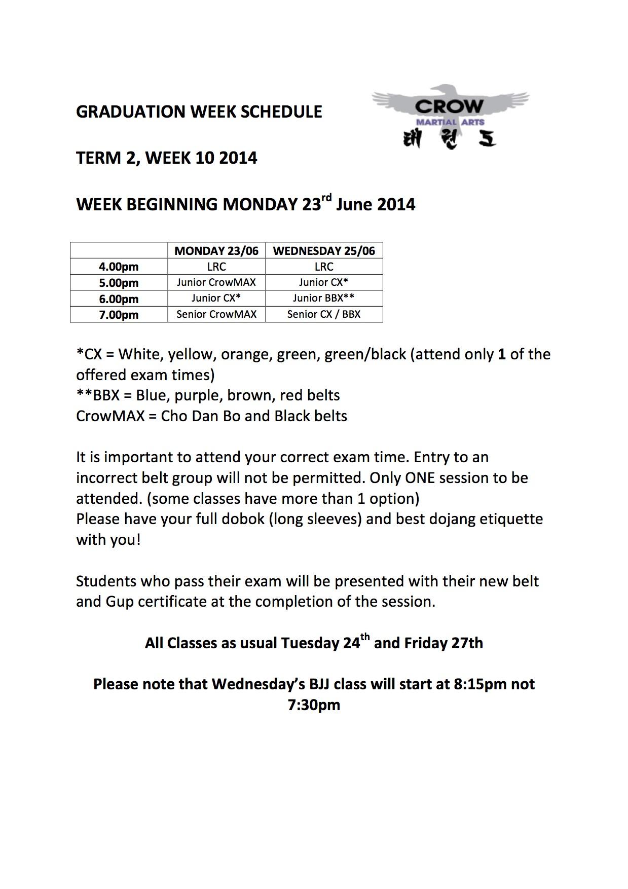 Graduation week schedule Term 2 - 2014