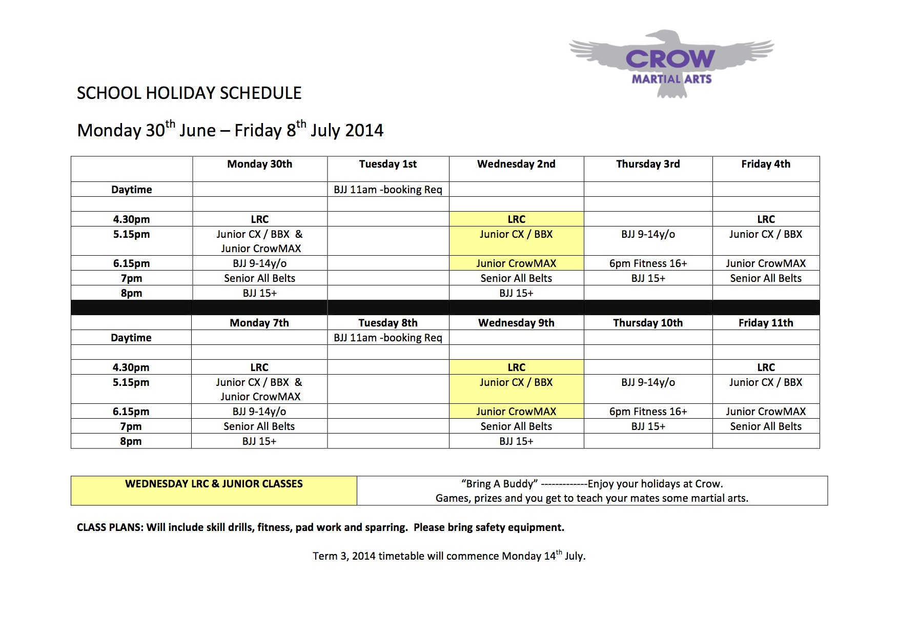 School holiday timetable