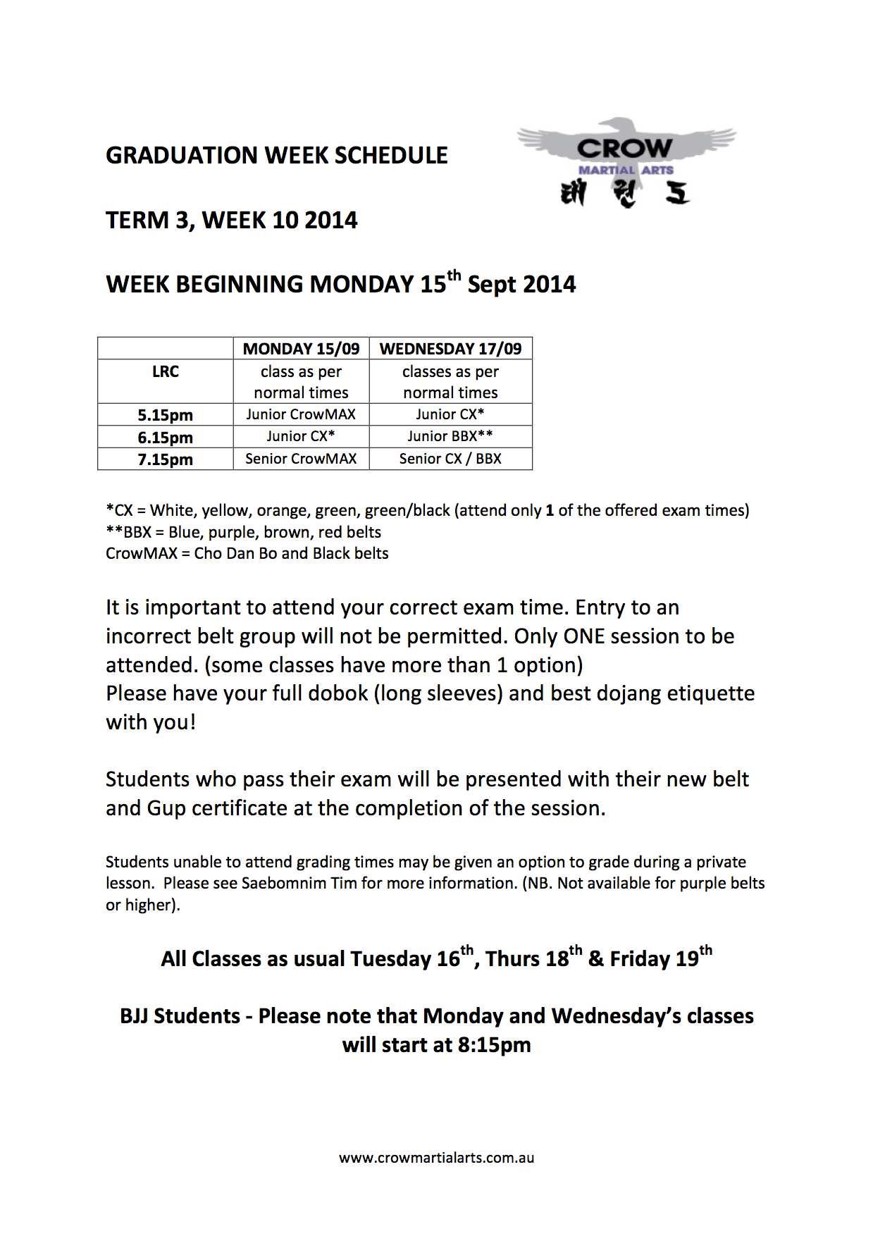 Graduation week term 3 2014