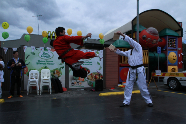 Our Extreme Martial Arts instructor Matt is showing his awesome kicking skills