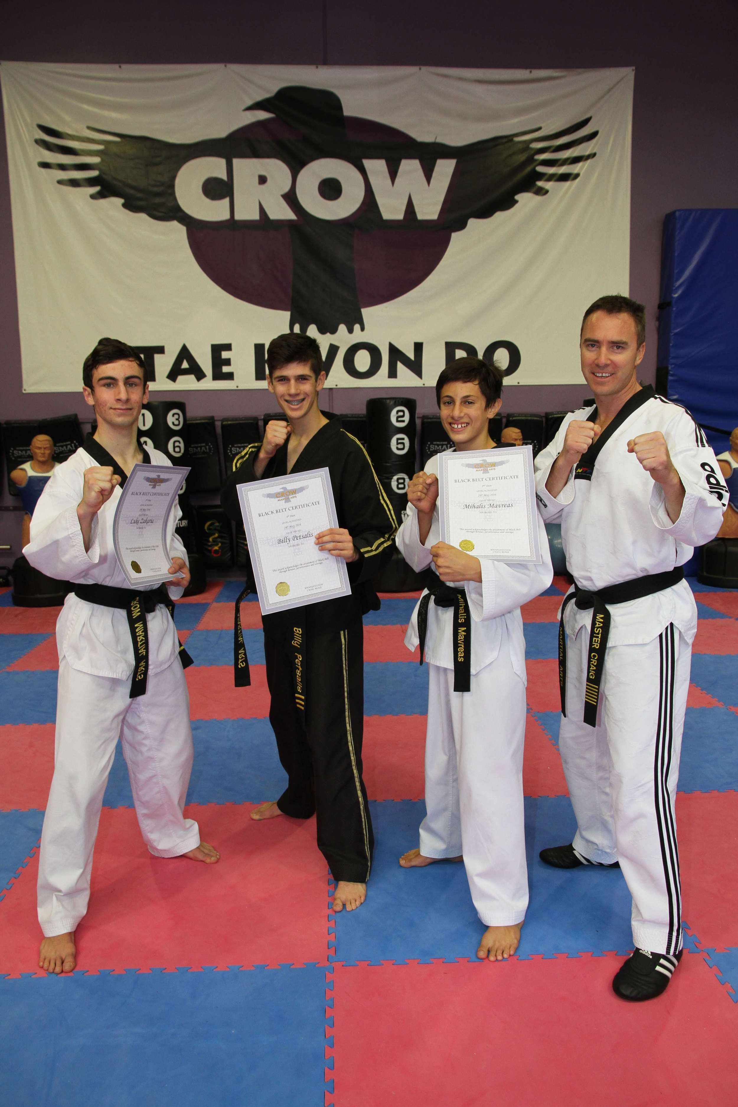 Our three new black belt students together with Master Craig