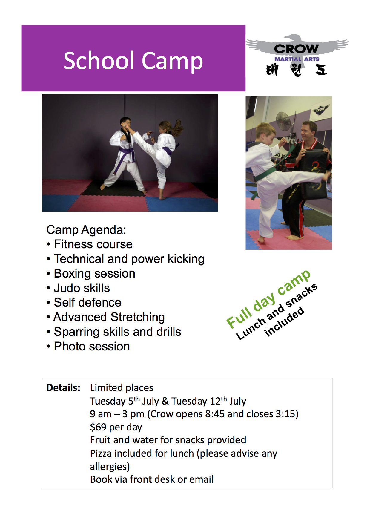 Crow Martial Arts school holiday camp