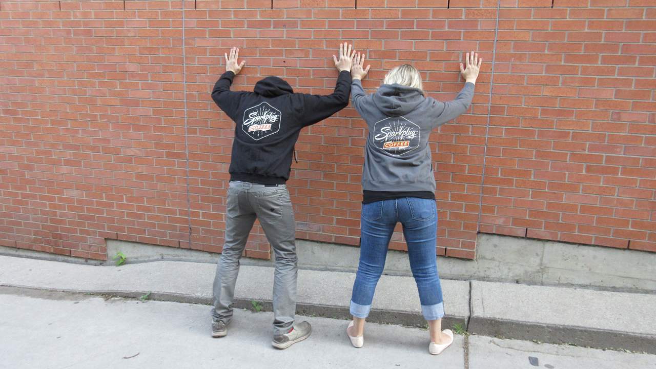 Sparkplug Coffee zipper hoodie unisex mens womens grey black back.jpg