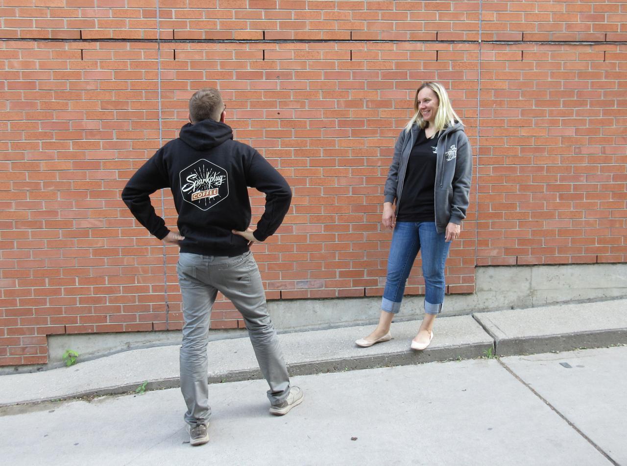 Sparkplug Coffee hoodie black back badge grey front vespa scooter woman man unisex.jpg