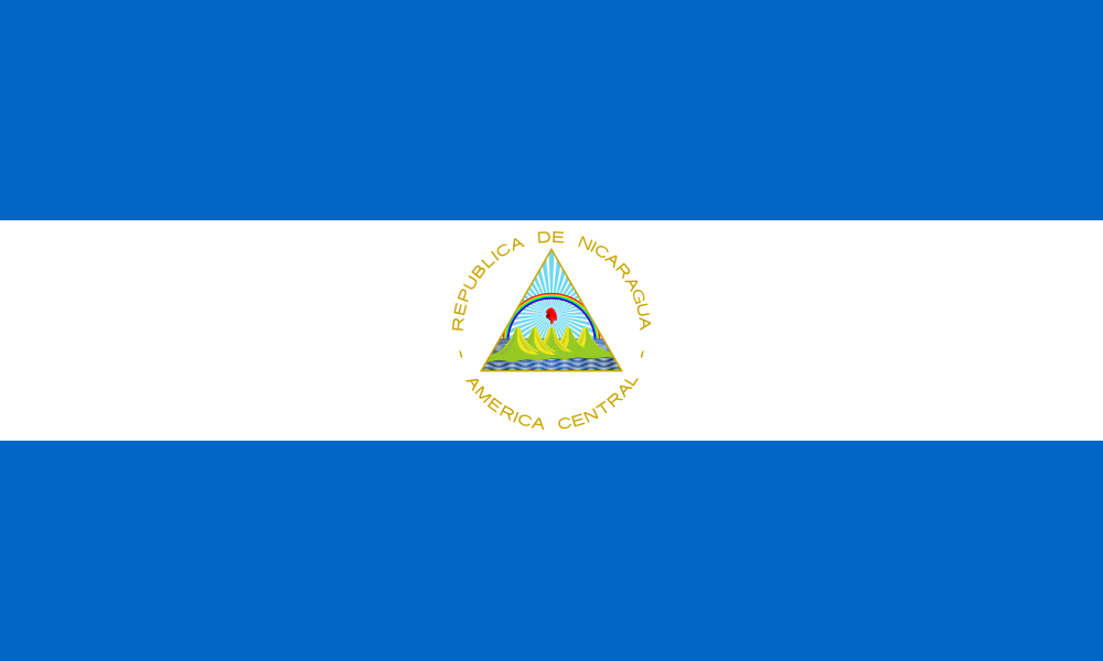 The Nicaraguan flag - it's a magical place with a rainbow and sun symbolizing its bright future.