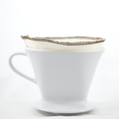 a cotton filter in ceramic pour-over coffeemaker