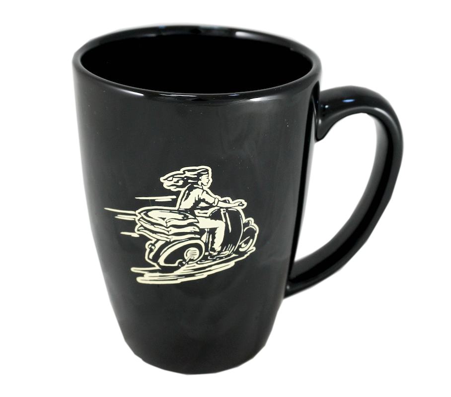 Sparkplug Coffee mug black with logo and scooter gal designs