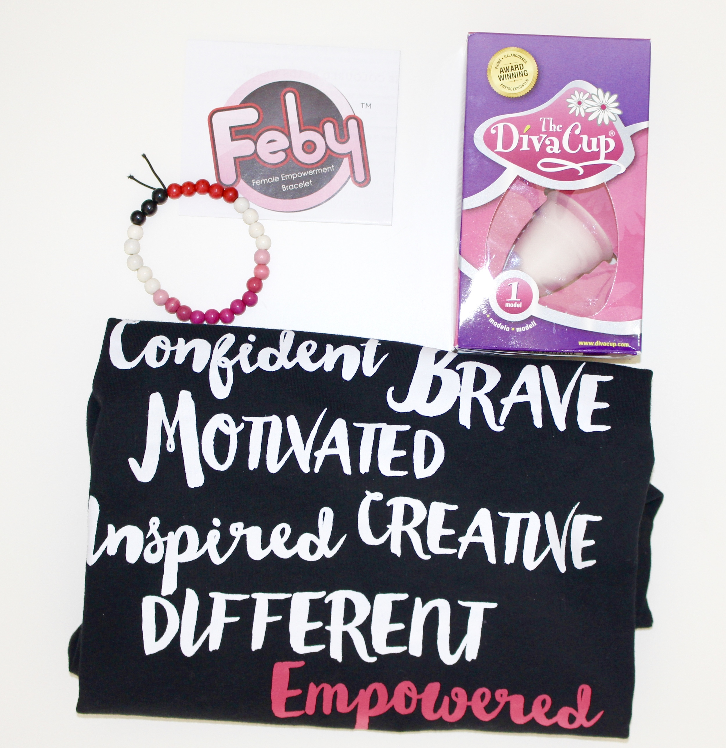 Prize consists of a Female Empowerment Bracelet, DivaCup and a t-shirt. Prize valued at $60