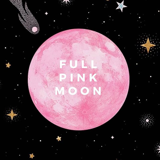 Tonight's full moon is named the pink moon by some and the grasshopper moon by others but really all that matters is that for a moment tonight you look up and find the moon and connect to the universe for a minute. 🌚💖 #april #pinkmoon
