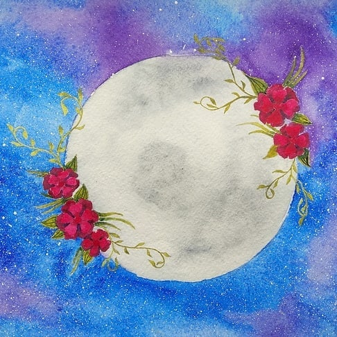 The full flower moon is here. How do you plan to spend this special Saturday night in May? #fullmoon #flowermoon #longweekend ✌❤🌼🌚 Illustration by DarkElen