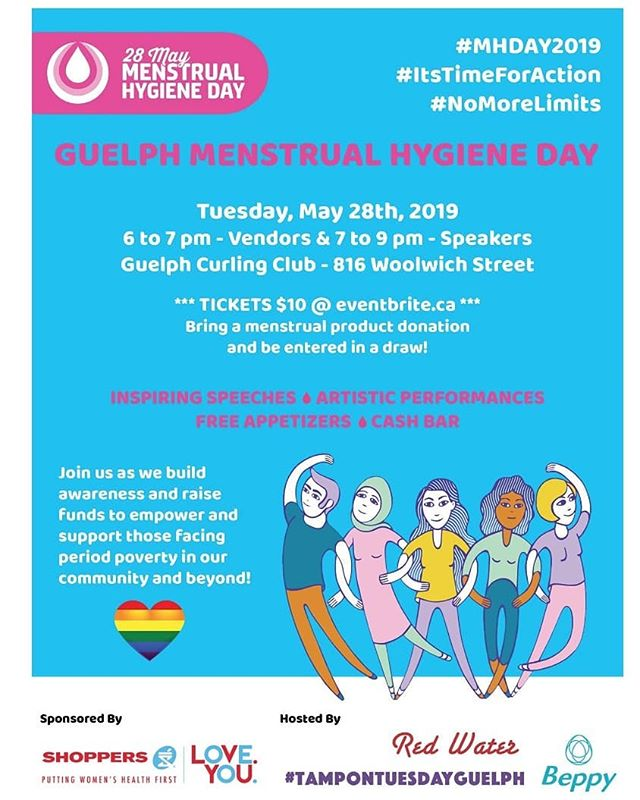 Please join us tomorrow in Guelph Ontario to help raise awareness  and education about menstrual issues in honour of #mhday2019  Further details provided on website.