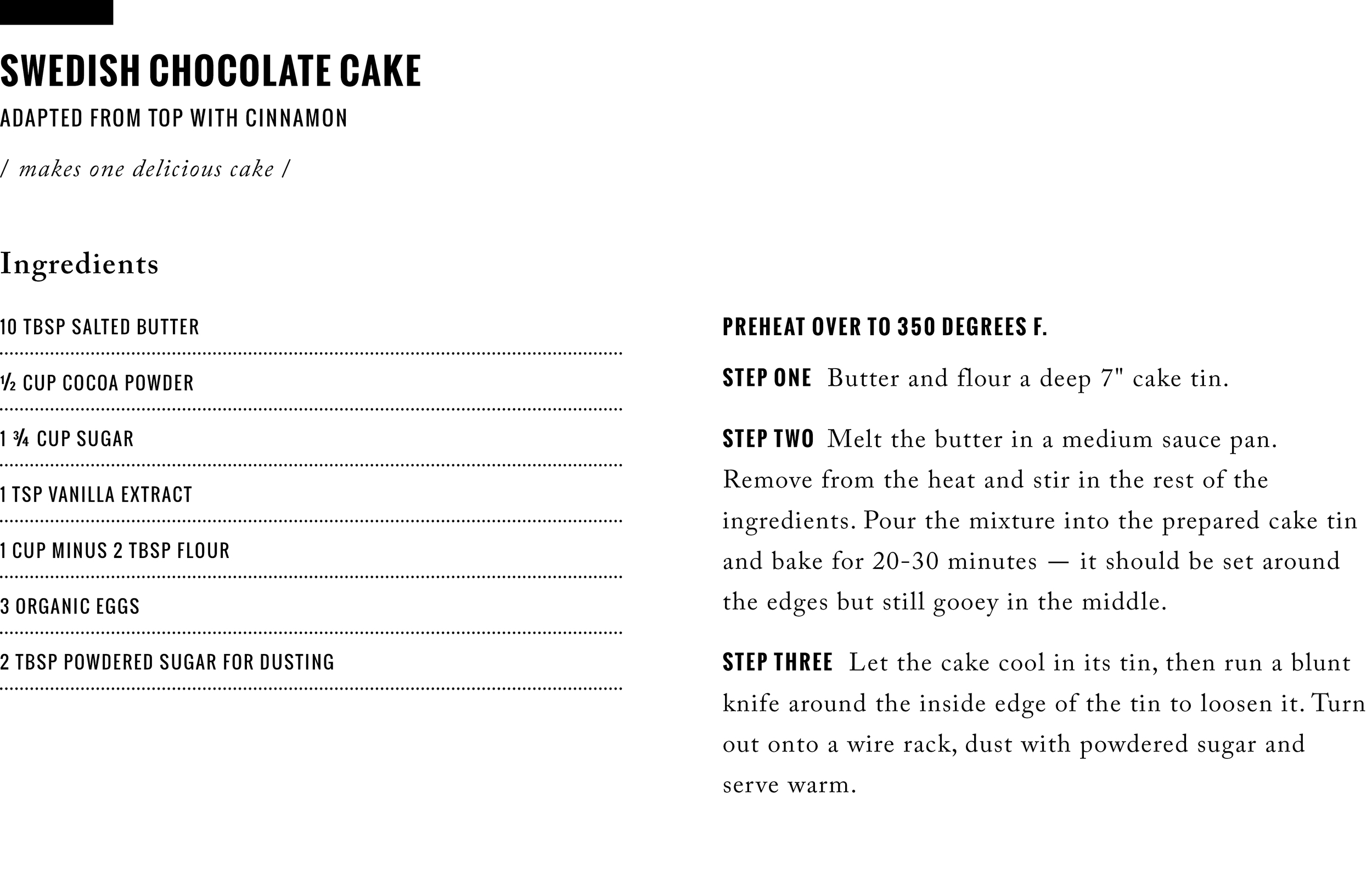 Recipe: 5-Ingredient Swedish Chocolate Cake  /  www.goodonpaperdesign.com/blog  / @good_on_paper