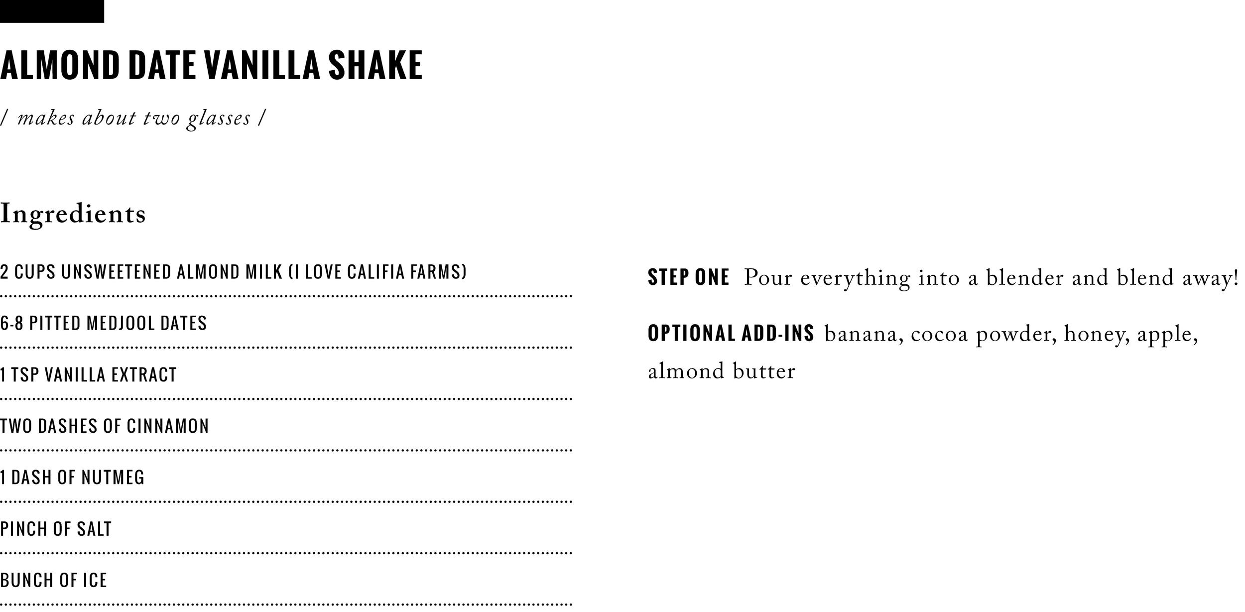 Recipe: Almond Date Vanilla Shake  /  www.goodonpaperdesign.com/blog  /  @good_on_paper