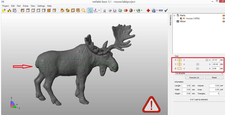 接著右邊有個X/Y/Z的位置,你可以自由的調整位置來改變你要的切割面。當然以這隻鹿來說,就是從正中間切割是最好的。