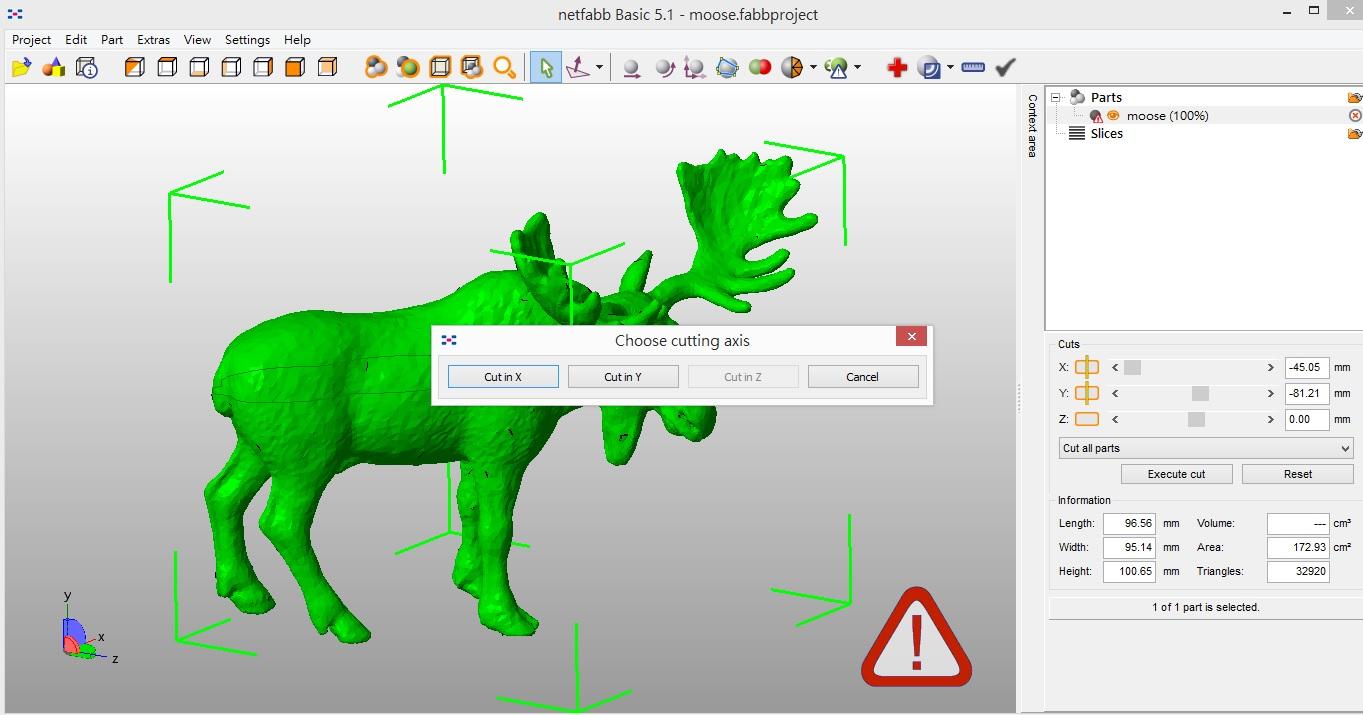 他會問你要切X/Y/Z軸,我的鹿的例子是Y軸,就按下 CUT IN Y